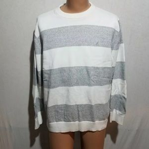Nautica White Gray Striped Sweater Size XXL